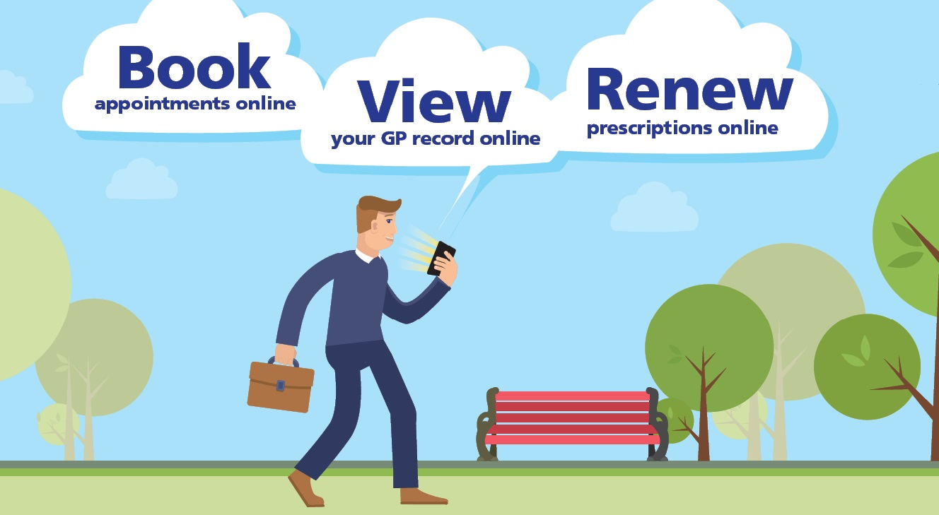 Online Services.  Book appointments online.  View your GP record online.  Renew prescriptions online
